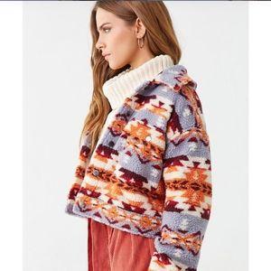 Geo Print Sherpa Shearling Jacket